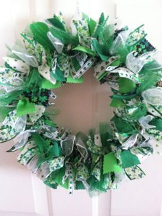 St. Patrick's Day Fabric and Ribbon Wreath by RagWreathsbyMissVal, $40.00