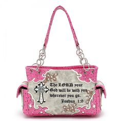Pink Concealed Carry Cross Purse With Bible Verse - Handbags, Bling & More! Trendy Handbags, Fashion Handbags, Fashion Bags, Christian Hats, Bible Bag, Cross Purses, Concealed Carry Handbags, Carry On, Bible Verses
