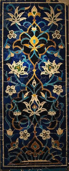 A monumental Timurid Mosaic Tile panel with lotus blossoms, Transoxiana, 15th century - 133 by 53cm.