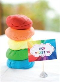 great idea for play thing to do at rainbow themed childrens birthday party - in OHbaby! magazine