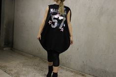 Black Maxi Knee Lenght Dress Oversized Black by Odd13Boutique