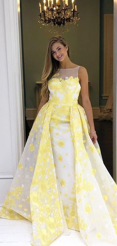 dd579c98ac Chic A-line Bateau Daffodil Long Prom Dress Beautiful Beaded Applique Prom  Dress Evening Formal Gowns AMY3036. AmyProm
