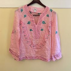 ‼️50% OFF‼️Lilly Pulitzer pink embroidered  top. Make a $25 purchase and get this for $30!!! Lilly Pulitzer pink embroidered linen tunic top.could not be cuter! Bright pink linen with hot pink and turquoise embroidery. Sz xs. Lilly Pulitzer Tops Tunics