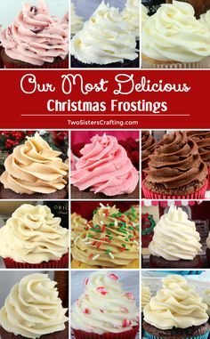 Our Most Delicious Christmas Frostings We have all of Our Most Delicious Christmas Frostings in one place so you can find the very best frosting for your Holiday baked goods. Any of these yummy homemade frostings would be a great addition to your Holiday Cupcake Recipes, Baking Recipes, Cupcake Cakes, Dessert Recipes, Muffin Cupcake, Paleo Baking, Baking Desserts, Cupcake Ideas, Best Frosting Recipe