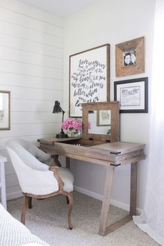 Corner bedroom rustic desk with a white-washed weathered wood ...