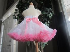 Super Sweet Pink and White Pettiskirt by littlemacboutique on Etsy, $35.00