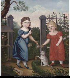 Portrait of two girls in a garden | English Provincial School, circa 1800