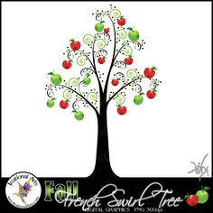 $1.95 INSTANT DOWNLOAD Fall APPLES French Swirl Tree  a gorgeous swirly tree with Red and Green apples perfect for teacher