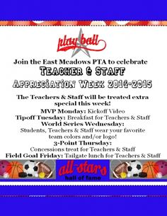 Students & Parents, join the fun in celebrating our All-Star Teachers & Staff this week! On Wednesday, we ask that the students wear their favorite team colors, jersey or logo&n