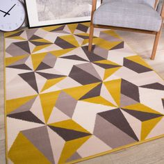 Modern Style Rugs Home Accessories in Geometric Grey, Cream, Mustard, Yellow - Diamond Pattern in Soft Touch Large Living Room Rug (Mustard & Grey, Geometric Cushions, Geometric Rug, Large Living Room Rugs, Grey And Beige, Gray, Rug Inspiration, Yellow Rug, Grey Rugs, Rugs Online