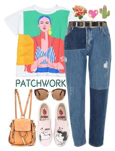 """""""Patchwork Jeans"""" by stephlv ❤ liked on Polyvore featuring River Island, Vans, Chloé, Marni, B-Low the Belt, ban.do, PINTRILL, Celebrate Shop and patchwork"""
