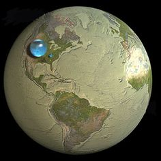 The blue spheres represent the relative amounts of the Earth's total water, liquid fresh water, and fresh surface water (in decreasing size) in comparison to the size of the Earth.