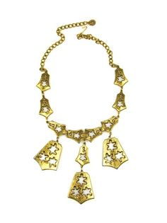 Sasha Maks Vintage Goldette Three Pendent Bell Motif Necklace 1960s