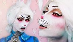 Best White Makeup For Halloween Bunny Halloween Makeup, Bunny Makeup, Alice In Wonderland Makeup, White Rabbit Alice In Wonderland, Diy Maquillage, Maquillage Halloween, Anais Marion, Makeup Fx, Makeup Ideas