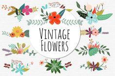 Advertisement  イラストで描かれた、キュートな花や植物のパーツを組み合わせて、お好み花柄デザインを作成するベクターキットVintage Flowers Ⅱを、デザイナーさんより提供いただいたので …