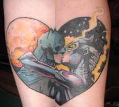 Batman and Catwoman couple tattoo! Id never get this, but thats so cool! @Siobhan Darby would probably love this.