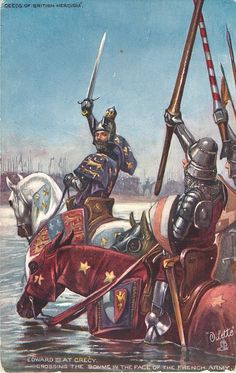 Unknown artist, Edward III at Crecy Crossing the Somme in the face of the French army