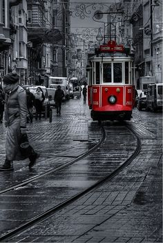 Hand Color: I chose this because I love how vibrant the red tram is against the black and white