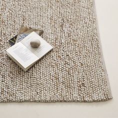 Mini Pebble Jute Wool Rug, 9'x12', Natural/Ivory - for the living room?