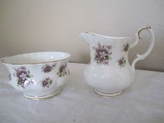"""Another ROYAL ALBERT pattern """"SWEET VIOLETS"""" CREAMER AND SUGAR"""