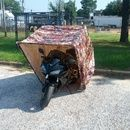 Motorcycle Shell DIY Garage    >    I can see other applications for this wonderful idea. We have water barrels and need to store them close to the house. This would be a nice way to not look trashy and not have to build another shed.