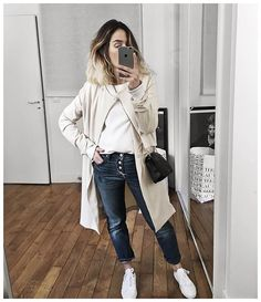 WEBSTA @ audreylombard - En entier :• Trench-coat #samsoesamsoe (old)• Top #toupie (from @labrandboutique)• Jean #levis501 (old)• Bag #sezane (from @sezane)• Sneakers #converse (from @converse)...