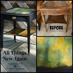 Amazing transformation of a beat-up old table thanks to Unicorn Spit rainbow gel stain. See more projects and tutorials at www.AllThingsNewAgain.net