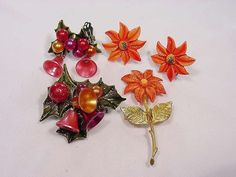2 Vintage 1940s Celluloid Christmas Pin and Earrings Sets Clean Colorful Gifts