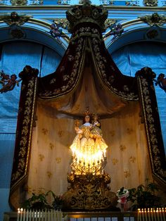 Baroque altar with baldaquin for Mary in Matera, Italy.