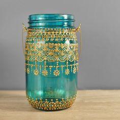 Novia Bohemia colgante farol, decoración de la recepción, tarro de masón con vidrio Teal con detalles oro Henna