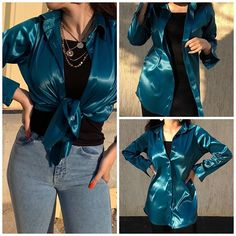 Satin Blouses, Green Satin, Beautiful Blouses, Size Chart, Babe, Ruffle Blouse, Turquoise, Instagram, Tops