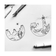 Tiny landscapes by @alucinori  #blackworknow if you would like to be featured
