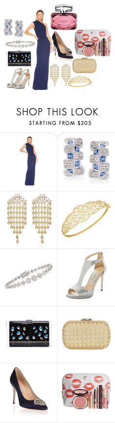 """Accessories and One Blue Dress Set No. 462"" by vintagelady52 ❤ liked on Polyvore featuring Solace, Ross-Simons, DANNIJO, Lord & Taylor, Jimmy Choo, Edie Parker, Corto Moltedo, Manolo Blahnik, Charlotte Tilbury and Gucci"