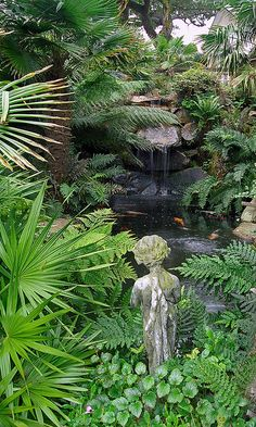 ★ ✯✦⊱ ❤️ ⊰✦✯ ★ Lamorran House Gardens, Cornwall, UK | A coastal garden with an eclectic mix of statuary and water features ★ ✯✦⊱ ❤️ ⊰✦✯ ★