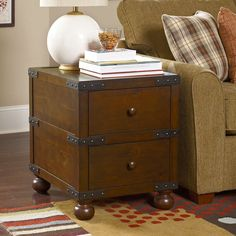 hammary hidden treasures trunk end table weathered pine more