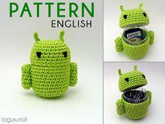 Android-shaped container  Crochet Amigurumi Pdf por iogurumi