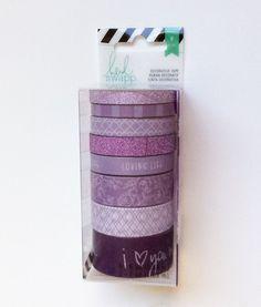 PURPLE & WHITE Washi Tape Set 8 Heidi Swapp Patterned + Glitter Decorative tape roll Planner lot Diamond patterns, Love Words Phrases Floral