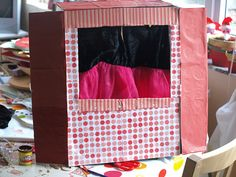 {How to Make a Cardboard Box Puppet Theatre} Perfect for talent shows!