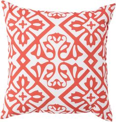 Enchanting, modern coastal design to add to your seaside home; presenting our new indoor-outdoor Coral Ikat patterned pillows.