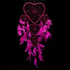 """Dream Catcher ~ Handmade Hot Pink Heart Shape with Pink String 8.5"""" Heart & 24"""" Long. Native American dream catcher decor is believed to give its owner good dreams. BUY from $22.88 http://www.amazon.com/Dream-Catcher-Handmade-Heart-String/dp/B00MP78JV8/ref=sr_1_60?m=A2NNK9JTBO5J9L&s=merchant-items&ie=UTF8&qid=1428556202&sr=1-60"""