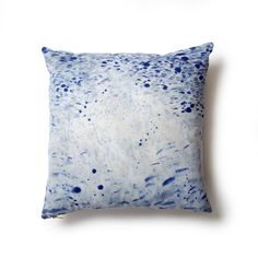 STORM PILLOW This one of a kind pillow reversible features ahandpainted storm design on the front and chambray reverse with hand dyed appl...
