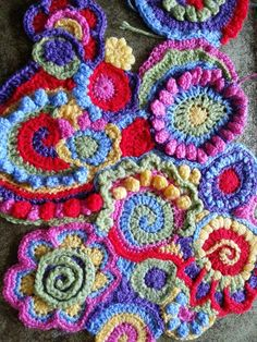 Bright vibrant freeform crochet scrumble spirals