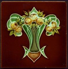 Art Nouveau Majolica Tile 1906