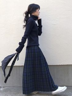 Long Skirt Outfits, Chic Outfits, Fall Outfits, Long Skirts, Cute Fashion, Look Fashion, Womens Fashion, Japanese Fashion, Asian Fashion