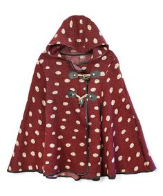 Look at this #zulilyfind! Burgundy Polka Dot Hooded Cape #zulilyfinds
