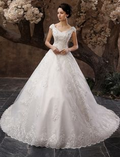 White A-line Off-The-Shoulder Beading Chapel Train Bridal Wedding Gown