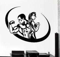 Wall Sticker Sport Fitness Bodybuilding Man And Woman Gym Vinyl Decal (z3067)