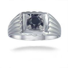 Sterling Silver 3/4ct TDW Men's Diamond Ring