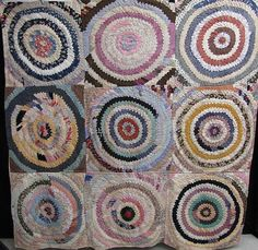 Bulls Eye or Pine Burr quilt made of thousands and thousands of prairie points. Weighs a TON!!!!!