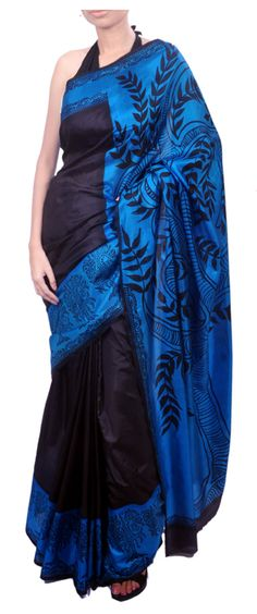 Madhubani painting inspired pure silk black saree with handpainted pallu. #Indianwear #Sari